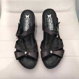 Mephisto Leather Wedge Sandals. Dark Gray. US sz 9